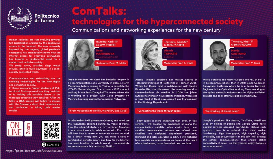 ComTalks: tecnologies for the hyperconnected society (April 15th, 29th - May 13th, 2021)